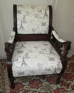 Antique Victorian Arm Chair  Newly Upholstered in by MonetsAttic
