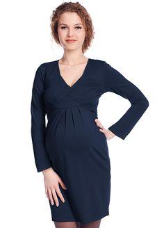 d1b452aa5a6 Queen mum - Blue Long Sleeved Empire Nursing Dress - ON SALE