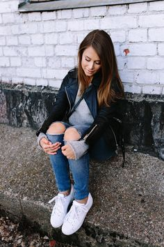 ripped jeans leather jacket