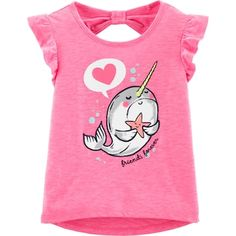 Neon Narwhal Hi-Lo Slub Tee, Color, hi-res Toddler Girl Shorts, Baby Girl Tops, Carters Baby Girl, Toddler Outfits, Toddler Boys, Boy Outfits, Kids Girls, Cute Narwhal, Inspiration Mode