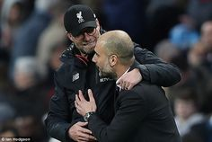 Jurgen Klopp and Pep Guardiola are both battling to ensure top-four finishes for their sides