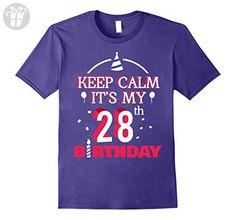 Mens Keep Calm It's My 28th Birthday - Birthday Shirt Gifts Small Purple - Birthday shirts (*Amazon Partner-Link)