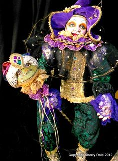 """My latest ArtDoll, a commission, The Jester. He is 40"""" tall on a wire armature, created to be seated."""