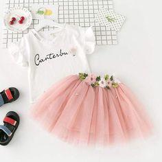 Tienda Online Humor oso Niñas Ropa 2018 marca Niñas Ropa conjuntos niños ropa hecha a mano flores diseño niños ropa chica Tops + falda | Aliexpress móvil