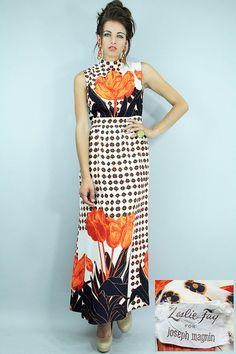 Vintage TULIPS Maxi Dress 60's RETRO Abstract by TatiTatiVintage, $148.00
