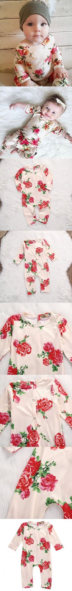 Newborn Baby Girls Long Sleeve Sweet Rose Romper Jumpsuit Bodysuit Outfits Clothes (0-6 months, rose)