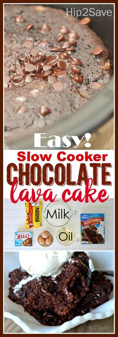 Slow Cooker Chocolate Lava Cake. Oh my gawed, this is so delicious. Such a great dessert recipe to give to the family or friends when they are over