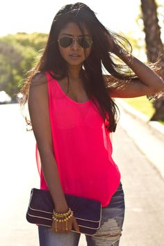 Highlighter pink tank