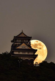 Super Moon Rise Behind Gifu Gifu Temple Castle Japan Beautiful Moon, Beautiful World, Beautiful Places, Beautiful Pictures, Stars Night, Stars And Moon, Japanese Culture, Japanese Art, Japanese Temple