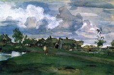 — Valentin Serov - Village. 1898. Gouache.