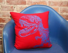 Screen Printed Dinosaur Pillow Cover 16x16 by miasunique on Etsy