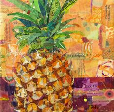 """BE A PINEAPPLE  Original Paper Collage Fruit Painting 6 X 6"""" on Gallery wrapped canvas Apple Painting, Fruit Painting, Paper Collage Art, Paper Art, Paper Crafts, Acrylic Gel Medium, Acrylic Painting Techniques, Painted Paper, Mixed Media Collage"""