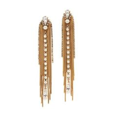 Erickson Beamon Born Again Earrings ($425) ❤ liked on Polyvore featuring jewelry, earrings, gold, chains jewelry, erickson beamon earrings, chain fringe earrings, earring jewelry and 24 karat gold earrings