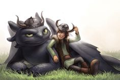 Toothless and Hiccup--Viking. Though, Toothless doesn't seem to like his. lol