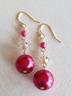 Framboise Glimmer handmade dangle earrings by amyspishposh on Etsy