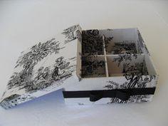 CAIXAS ARTESANAIS E OUTROS MIMOS: Caixa revestida em tecido preto e branco com fita ...