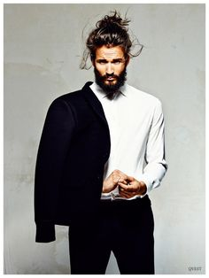 man bun + beards.