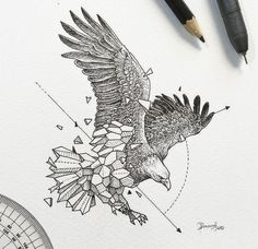Geometric eagle tattoo design • Visit artskillus.ru for more tattoo ideas