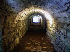 Craignethan Castle - corridor under the keep tower leading to the cellar vaults