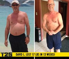 "David L. lost 17 lbs in 13 weeks of Focus T25!    ""I feel better than any point in my life within the past 30 years! Having Tania around allowed me to complete the workouts. I'm full of energy and look forward to the next day with a great attitude!"""