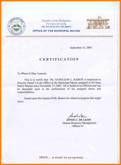 A letter of certification is a letter that is used to verify a letter of certification is a letter that is used to verify previous information in written form usually past employment pinterest yadclub Gallery