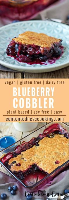 My Vegan Blueberry Cobbler is what we all need. Easy to make vegan gluten free and so fruity. Combined with the sweetness of the crunchy top it's such a delightful dessert you will eat the whole dish!
