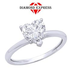 """1.5 Ct Diamond Round Cut Brilliant Heart Shape 14K Gold Solitaire Ring """"Mother\'s Day Gift"""". Starting at $1"""