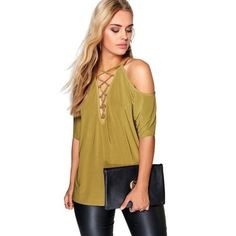 Summer Women T-Shirt Causal Hollow Out Cold Shoulder Short Sleeve Tops Tees Bandage T Shirts Woman Clothing LJ9028X