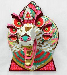 Amazing Wood Animal Sculptures by Artist AJ Fosik Kirigami, Arte Punk, Instalation Art, Papier Diy, Arte Tribal, Paper Mask, Animal Heads, Photo Projects, Animal Sculptures