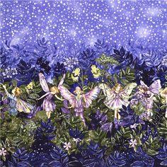 bonita tela en tonos lila con hadas de las flores, cielo estrellado y purpurina, producto de EEUU