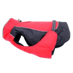 Keep both small and large dogs warm and dry in all types of weather with the Alpine Dog Coat in Red and Black from Doggie Design. This Winter dog coat features a thick, fleece lining, layers of extra fiber fill for added warmth, and a waterproof outer pol