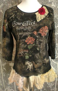 Cowgirl Shabby Chic Shirt  Size Large   Altered Tee by Pursuation, $30.00