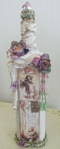 Revamped vodka bottle, shabby chic.