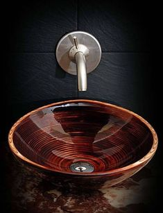 Topmount sink handmade of wood Wooden Bathtub, Wooden Bathroom, Wood Sink, Basin Design, Sink Mixer Taps, Decoration, Natural Wood, Interior Design, Home Decor