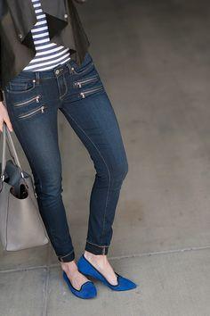 jeans (Paige Denimc/oMorton James, Lexington KY), jacket (BB Dakota, see similarHERE), tshirt (J.Crew,Similar), flats (Sole Society c/o), shades (Michael Kors), tote (Michael Kors), cuff (Morton James, Lexington KY), watch (Cartier), bracelets (Sylvia Benson c/o), ring (Lagos,Anna Beck) A color combo I've loved for quite a bit now—black & blue. ThesePERFORATED FLATSkinda set the tone for …