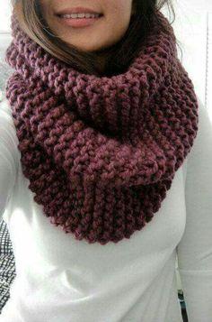 (via Hope Chunky Rib Infinity Cowl Scarf Fig Purple Grape by LuluLuvs) Knit Cowl, Cowl Scarf, Crochet Poncho, Crochet Scarves, Poncho Outfit, Crochet Slippers, Knitting Accessories, Loom Knitting, Unisex