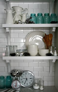 Love the white with blue mason jars. Kitchen shelves all decorated for Christmas, 2012.