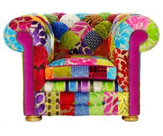 Bespoke Patchwork Chesterfield Armchair Designers by JustinaDesign
