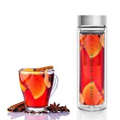 Tea Flask & Water Bottle In One | BBYO's 'Glass is Greener' ethos is inspiring. It's so versatile - use it for tea, coffee or take out the strainer to use as a water bottle. Double walled glass keeps your drink hot or cold for longer. Their carry cover designs are also great for portability. #teaflask #waterbottle