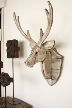 Kalalou Recycled Wooden Deer Head Wall Hanging