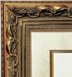 Ornate Gold Matted Picture Frame, Ivory Marble Mat, Gold Fillet, Glass, Hardware #LarsonJuhlArqadia #TraditionalOrnateEmbossed