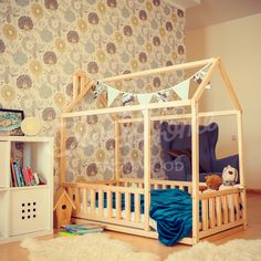 Boys room, toddler bed twin size, baby bed, children bed, montessori wooden house, nursery interior crib, toddler bedroom design, girl room, with fence
