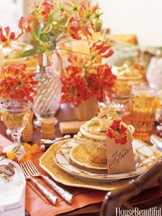Laura Kirar Tablescape - Fall Table Decorating Ideas - House Beautiful