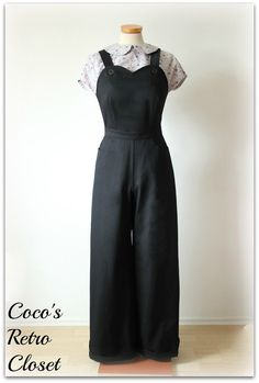40's Style Dungarees Overalls Pants Trousers by CocosRetroCloset, $112.00