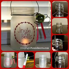 Super Saturday Crafts: Mason Jar Craft Items you need: - Pint size Mason jar - Wire  2 1/2 feet (heavy duty wire I got at a hardware store) -Wire Cutters - Frosted glass spray paint -VINYL  -Tea light candle -Ribbon, jingle bells... anything to dress up the glass