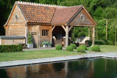 Check out this superb photo - what an imaginative conception Pool Shed, Backyard Sheds, Converted Barn Homes, Oak Framed Buildings, Porch Veranda, Garden Studio, Garden Buildings, Outside Living, Pergola Designs