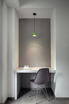 Casa YM by Enrico Scaramellini | Home Adore - Interesting desk unit; floor is interesting but not suitable for me, I don't think. Grey accent wall is interesting but we'll likely just stick with white.