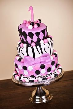 Pink, black and white first birthday cake - www.KellysCakery.com