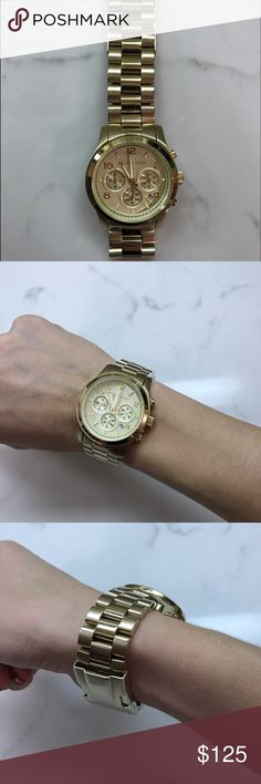 Michael Kors Women's Runway Chronograph Watch Beautiful, barely worn Gold Stainless Steel Michael Kors watch. This watch is like new! No scratches or wear, just needs a new battery! All the specs can be seen here…