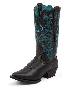 Justin Black Deertan Stampede Cowgirl Boots - Snip Toe